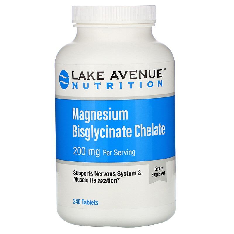 Lake Avenue Nutrition, бисглицинат магния, 200 мг в 1 порции, 240 таблеток