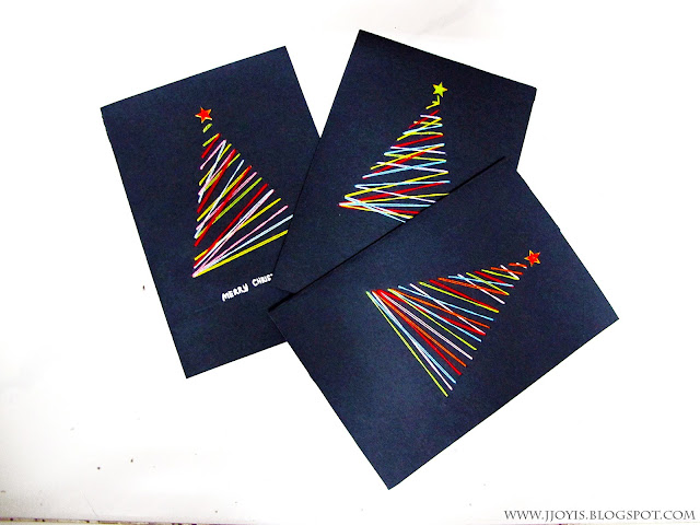 diy colourful thread xmas card