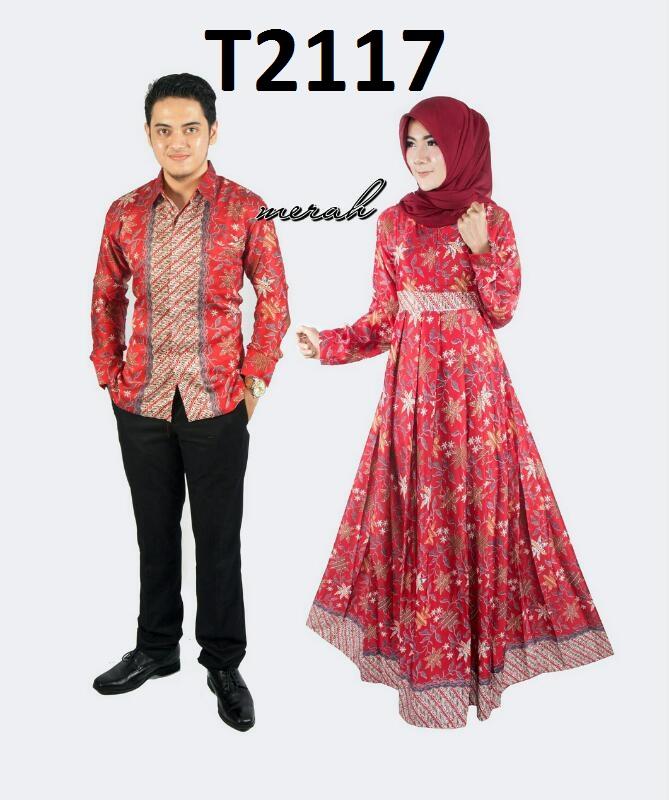 Baju Batik Couple Model Gamis Semi Sutera Hem Lengan