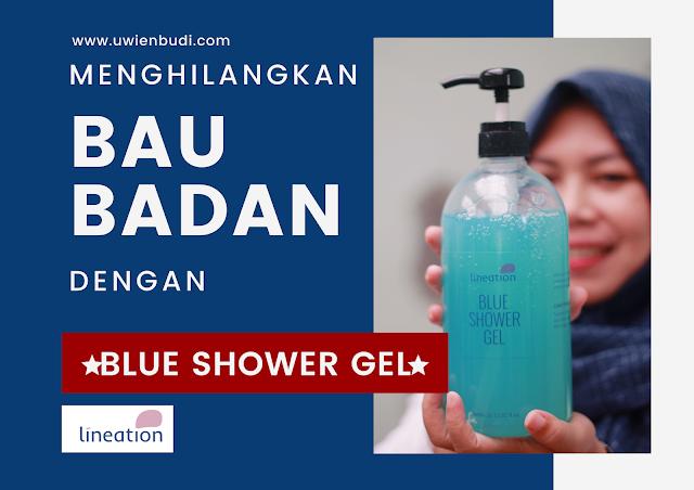 menghilangkan bau badan dengan blue shower gel lineation