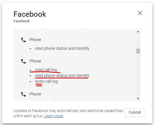 فيسبوك يطلب تصريح تعديل سجل المكالمات