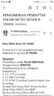 Cara daftar jadi mitra driver B-trans pandeglang