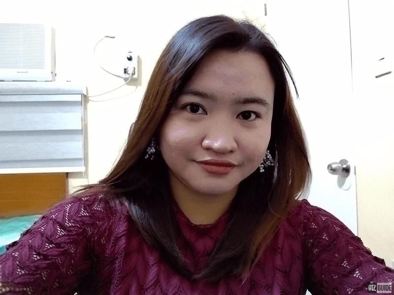 Indoor selfie with a beauty filter