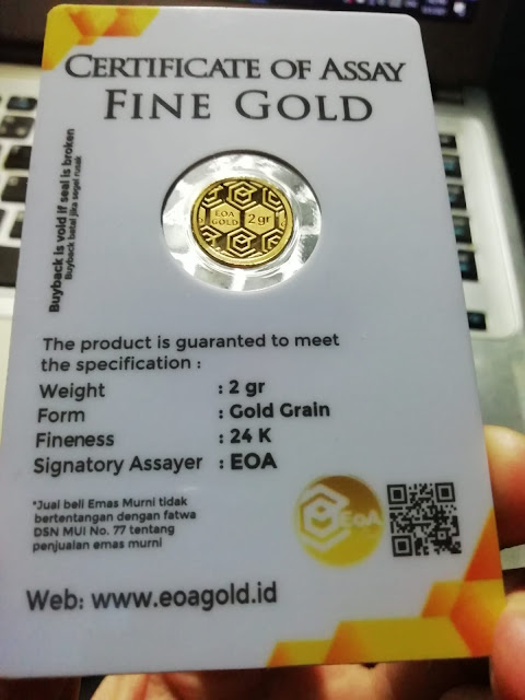 Tampak Kemasan Bagian Belakang EOA Gold Ukuran 2 Gram
