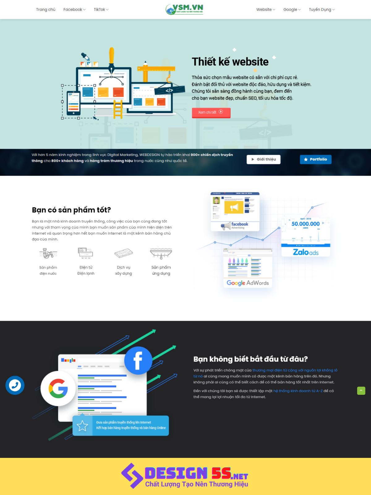 Template blogspot thiết kế web kết hợp marketing VSM67