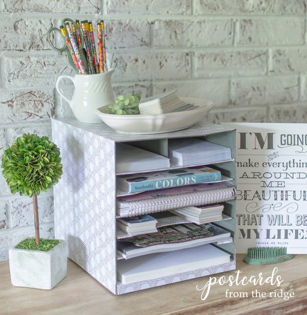 metal paper organizer covered with basket weave duck brand removable adhesive easyliner