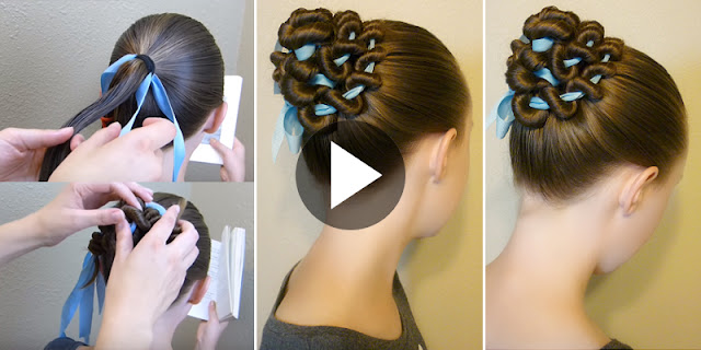 Learn - How To Create Ribbon Coiled Bun Hairstyle, See Tutorial