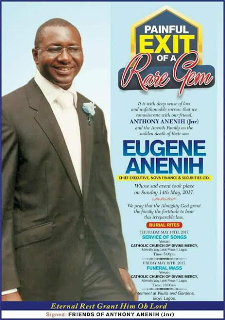 Obituary of Tony Anenih's son, Eugene who slumped and died at Lagos club