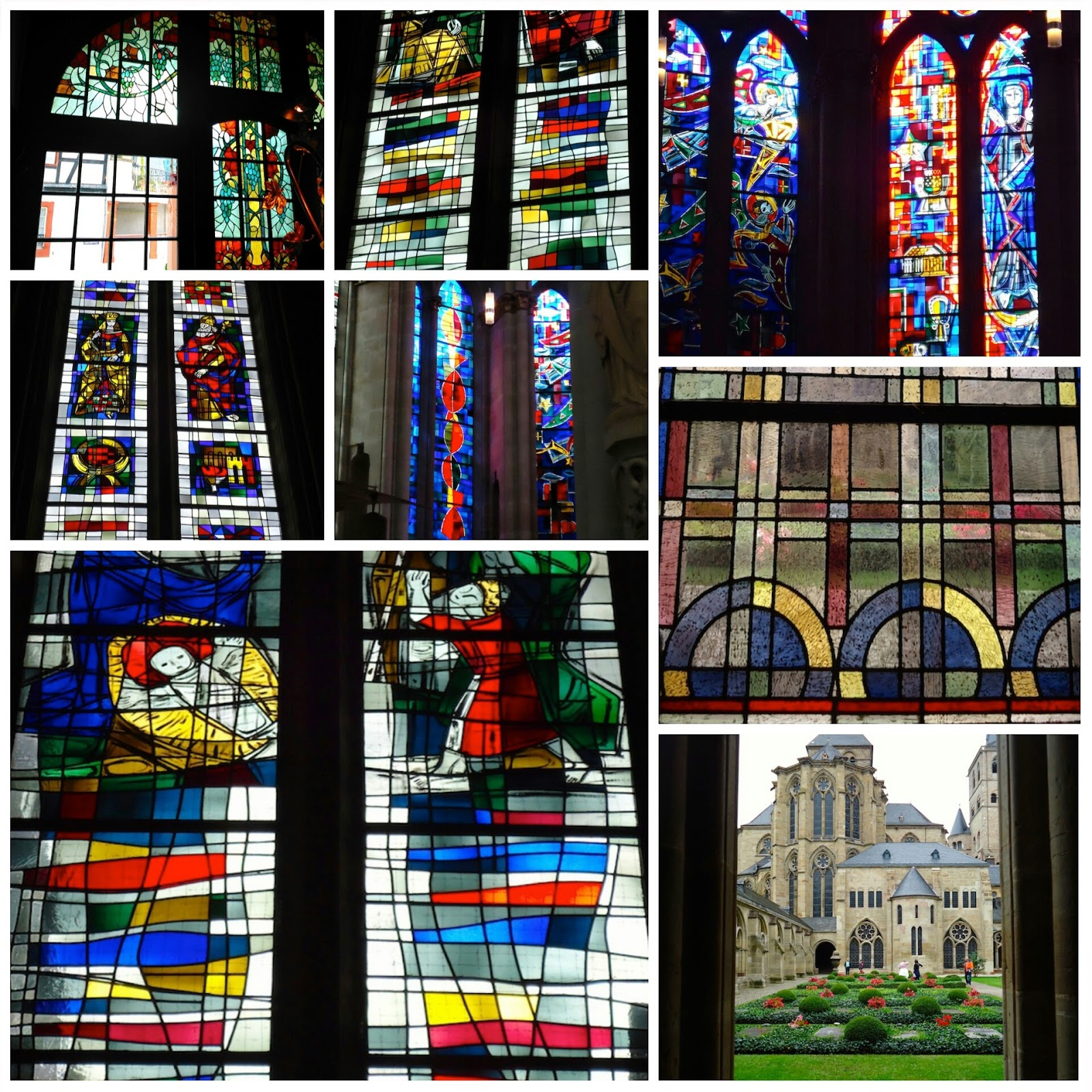 Stained glass windows at the Dom and Liebfrauenbasilika in Trier, art nouveau window from Hotel Bellevue, Traben Trarbach
