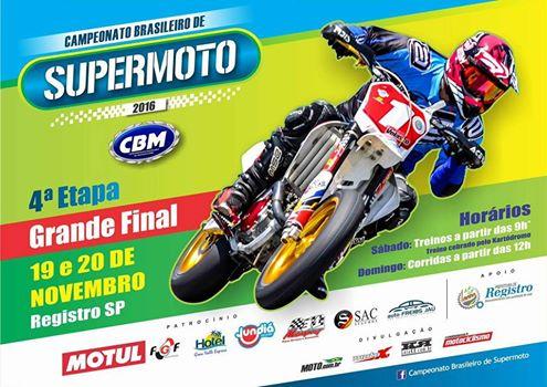 Brasileiro de Supermoto no  Kartódromo de Registro-SP neste  20/11