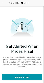"""An Android screenshot detailing GasBuddy's """"Price Hike Alerts"""" program, of which I do not partake in"""