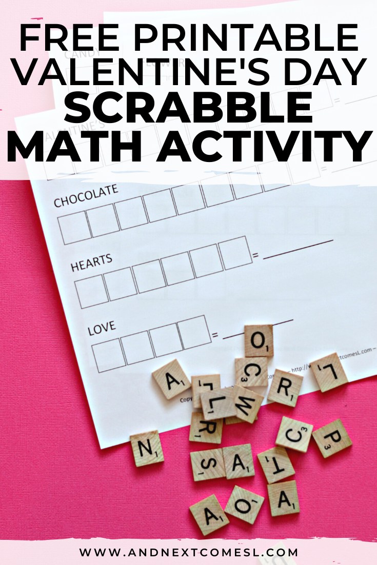 Valentine's Day Scrabble math activity for kids with free printable