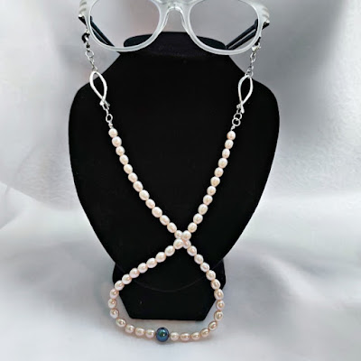 Eyeglasses Chain with Pearl and Wire Fish / Ichthus