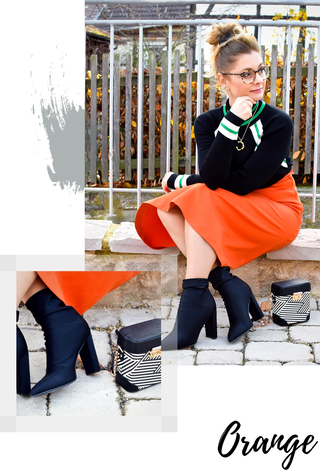 3 tipps wie du orange richtig kombinierst outfit mit rock in orange die edelfabrik der 40. Black Bedroom Furniture Sets. Home Design Ideas