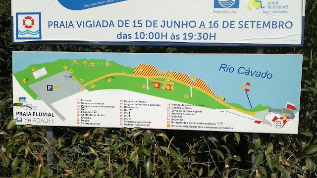 Informação das infra-estrutudas da Praia de Adaúfe