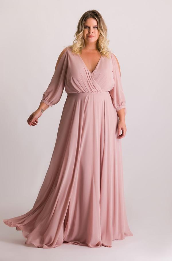 vestido de festa  plus size rose para madrinha de casamento
