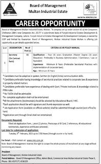 Board of Management Industrial Estate Multan Jobs 2021 for Secretary