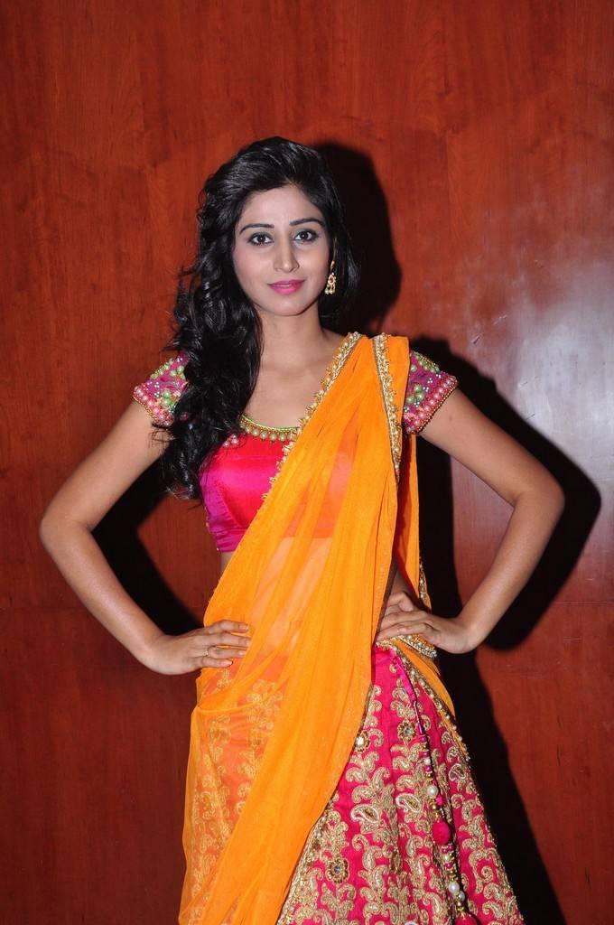 Actress Shamili Long Hair in Yellow Half Saree