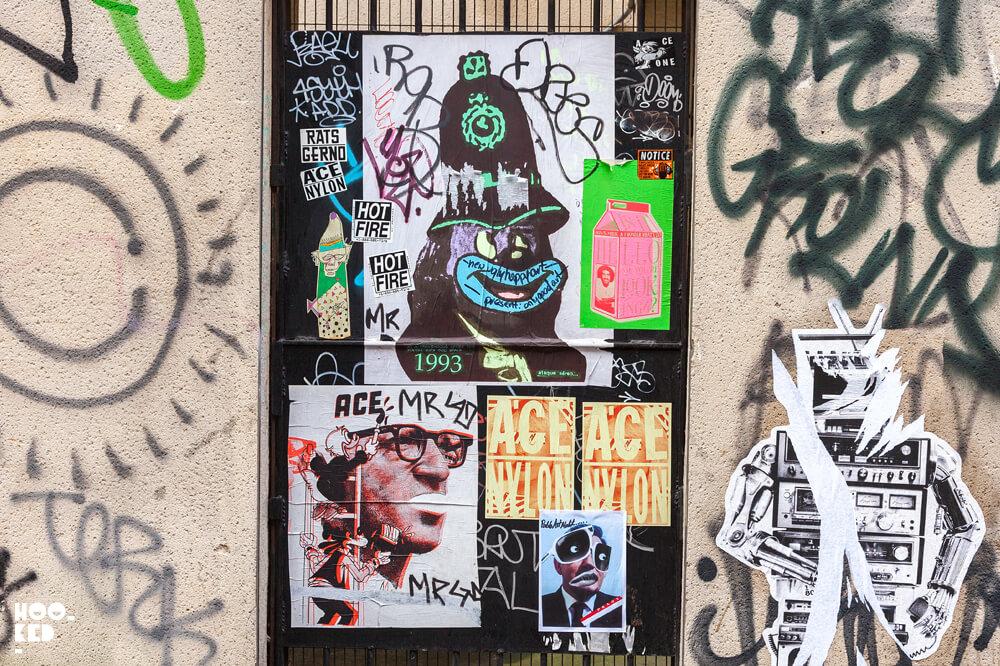 England, London, Shoreditch paste-ups by street artist ACE