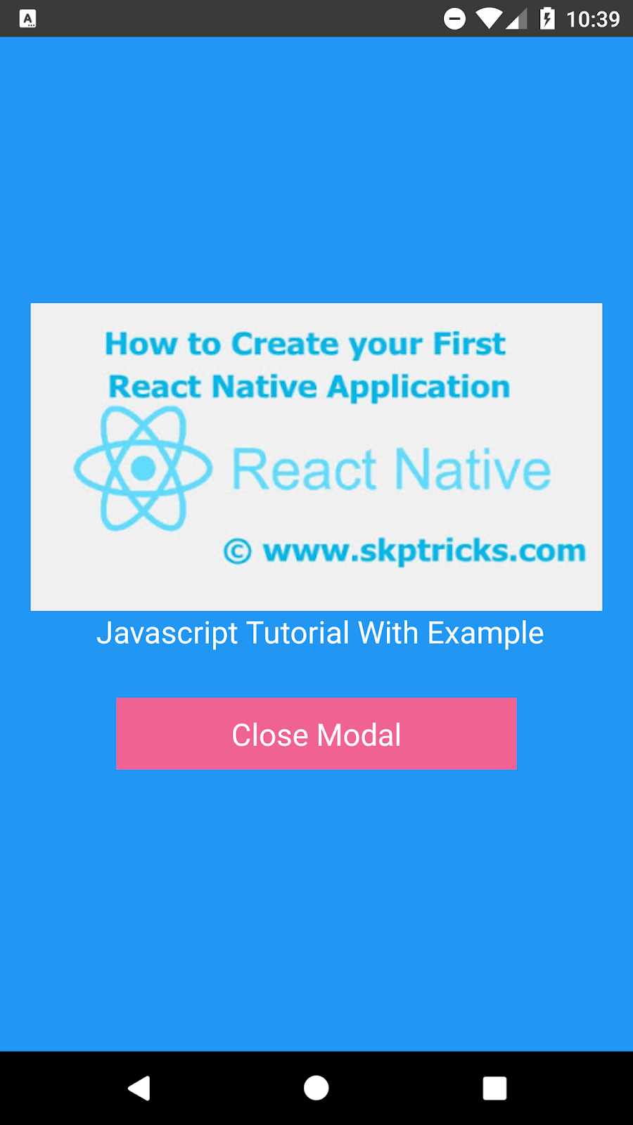 React Native Modal Example To Display Image | SKPTRICKS