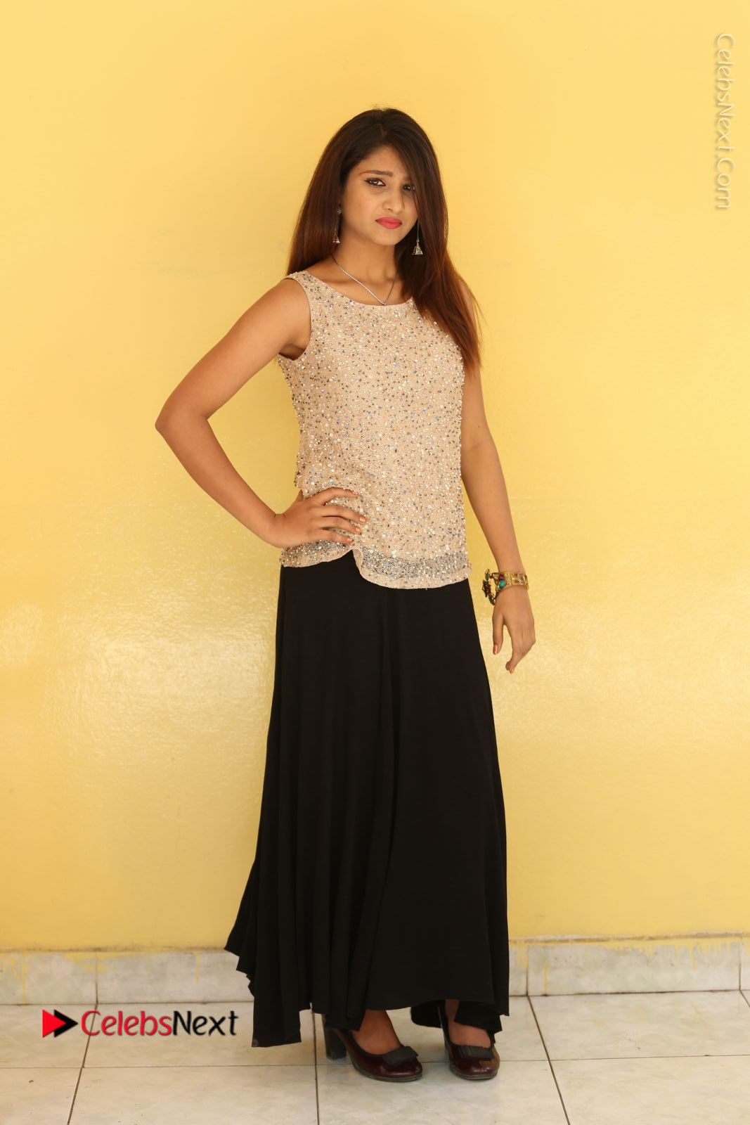 Arthi Stills in Black Skirt at Plus 1 Movie Trailer Launch