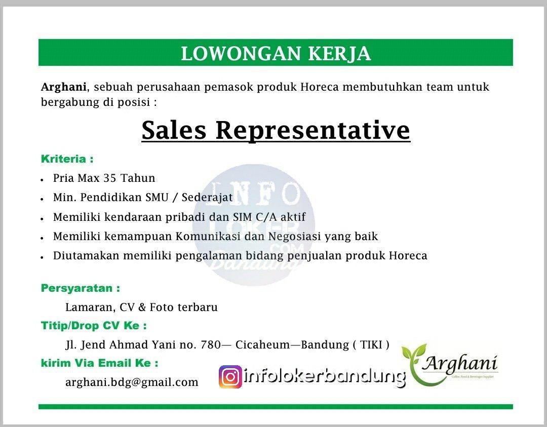 Lowongan Kerja Sales Representative Arghani Bandung Desember 2018