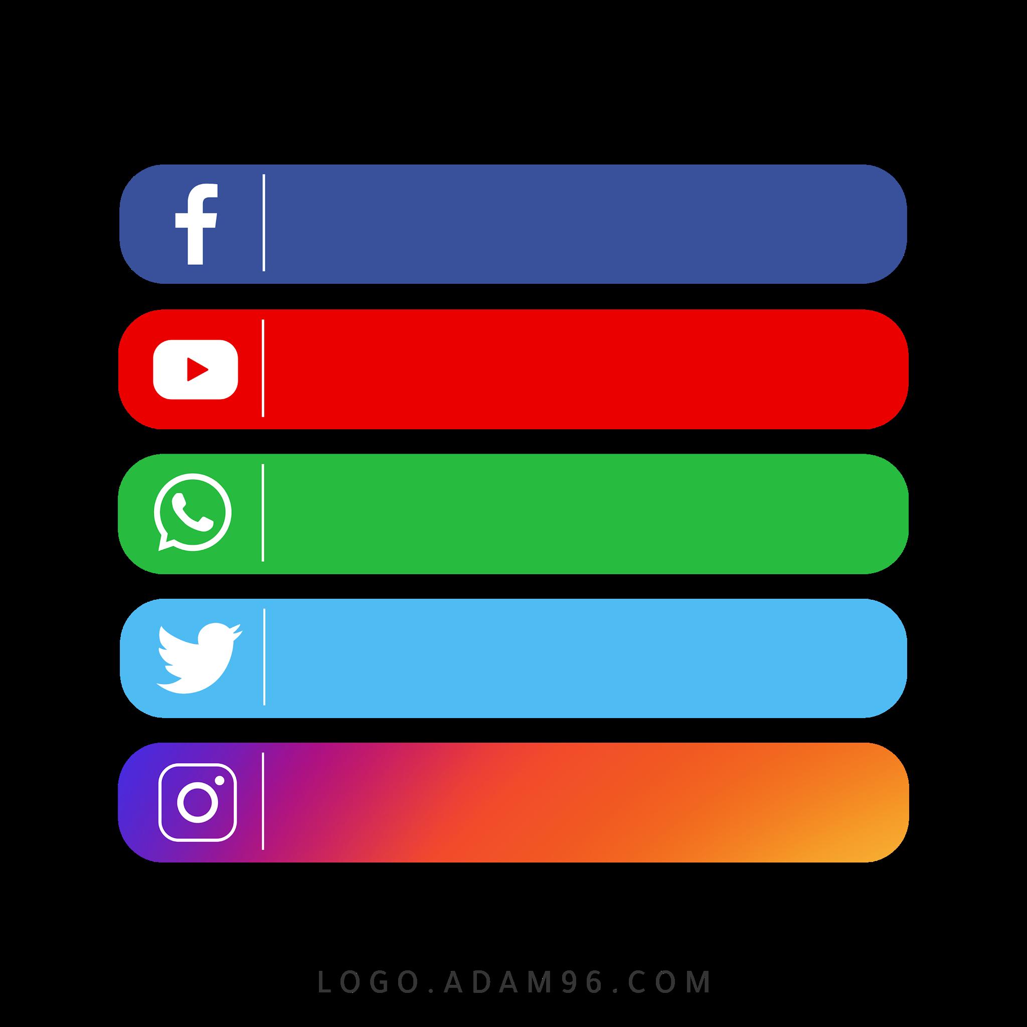 تحميل ايقونات شريط مواقع سوشيال ميديا للمنتاج والتصميم بصيغة شفافة PNG