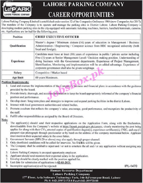 lahore-parking-company-lepark-jobs-2021-download-application-form