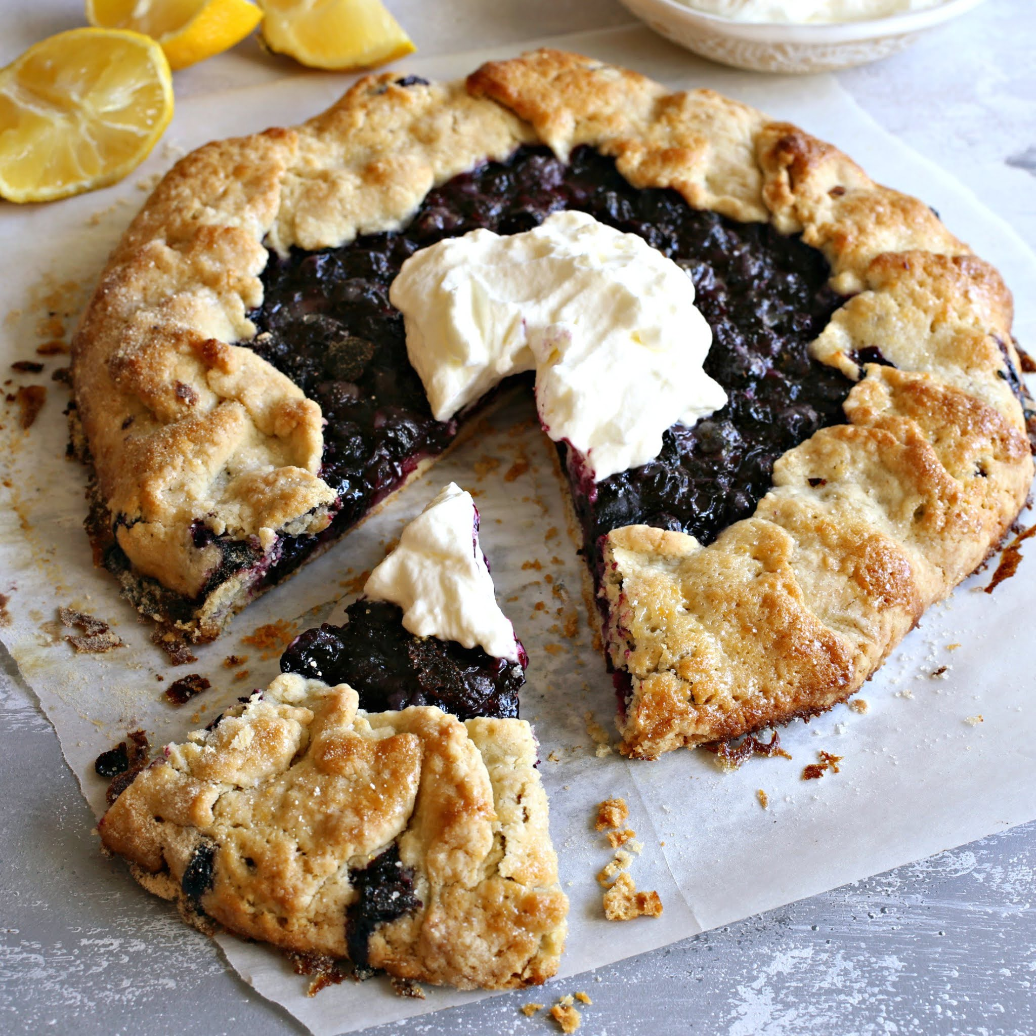 Recipe for a rustic, free-form blueberry and lemon pie.