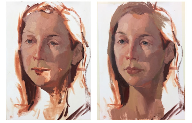 Zorn palette portrait workshop demonstration painting by Sarah Sedwick