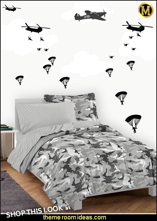 Military Paratroopers wall decals Camouflage bedding army theme bedrooms military theme   Camouflage bedding army theme bedrooms military themeboys army