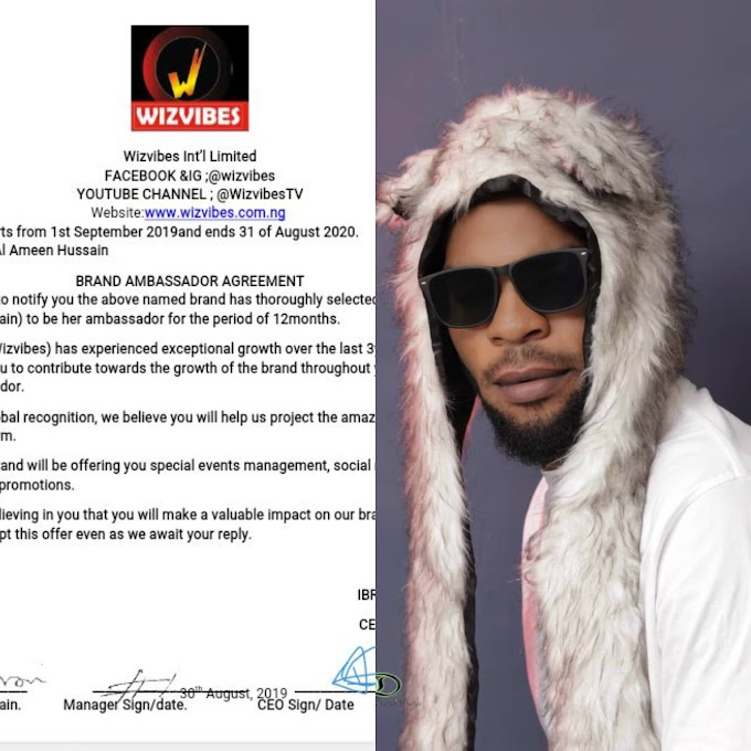 Nollywood Actor Al Ameen Hussain  Sign A Deal With Wizvibes as the Brand Ambassador