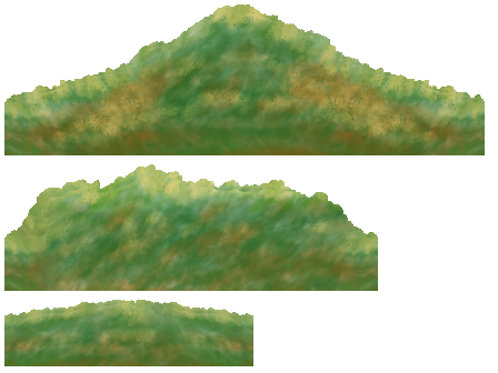 Single frames of watercolored background hills.