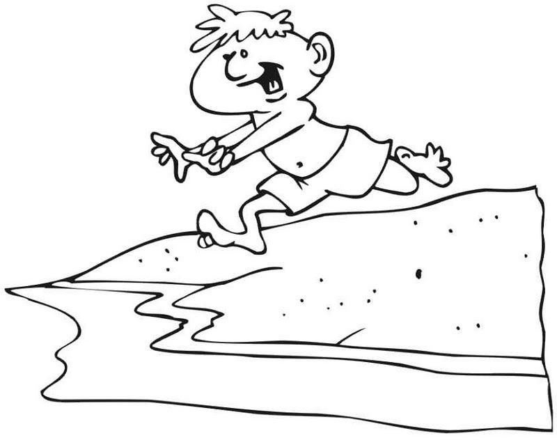 Colorea Tus Dibujos Niño Corriendo Hacia La Playa