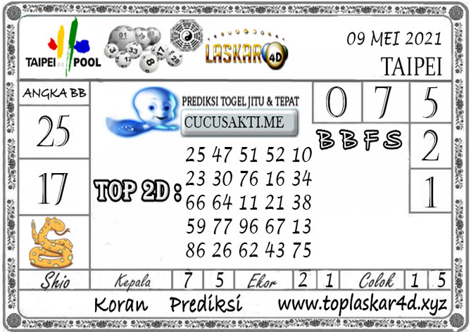 Prediksi Togel TAIPEI POOLS LASKAR4D 09 MEI 2021
