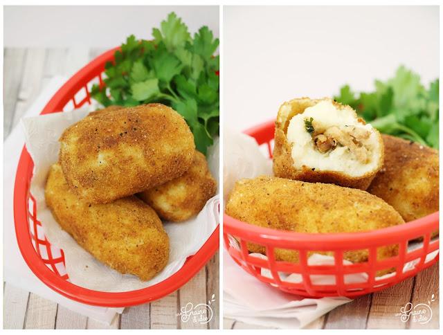 Croquette Pommes de terre Poulet Échalotes Confites Persil