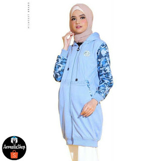 Hijacket CAMOUFLASHION Sky Blue Sweet Army Jaket Hijab