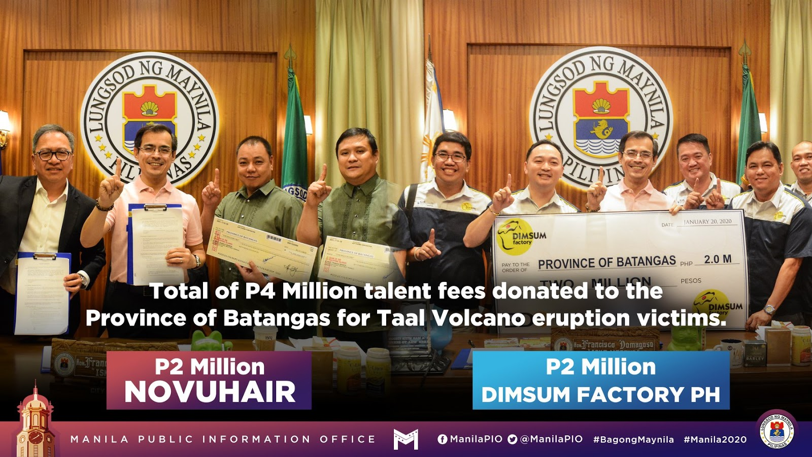 Yorme Isko donates Php4 million from talent fee to victims of Taal eruption