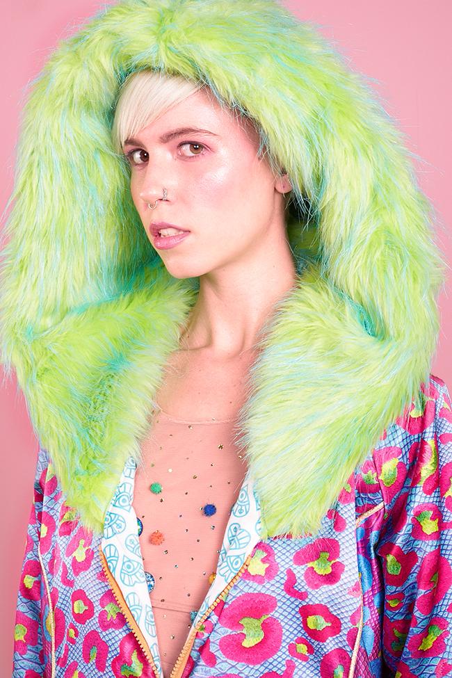 fur hood, leopoard jacket, L.O.M.