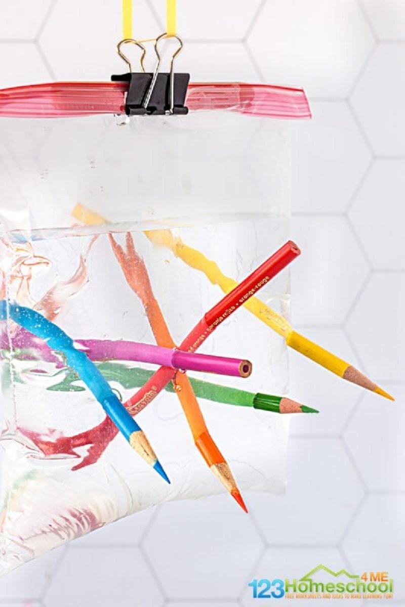 leak proof bag experiment with pencils
