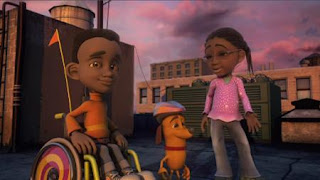 Traction Jackson and Kayla sing about the I words. Sesame Street Episode 4420, Three Cheers for Us, Season 44