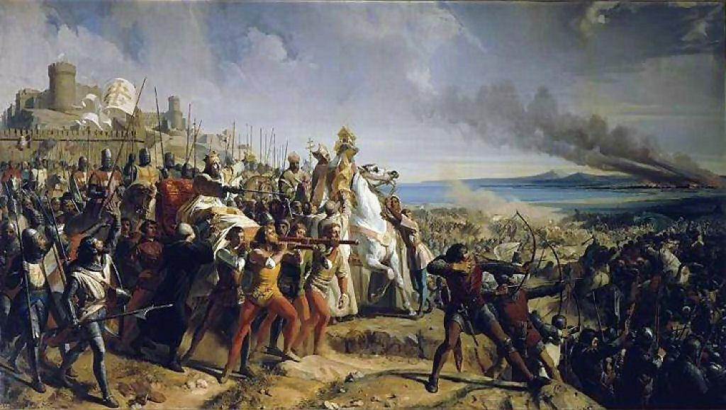 Balduíno IV na batalha de Montgisard. Charles Philippe Larivière (1798-1876).
