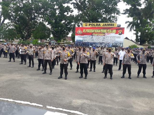 Kapolda Jambi Pimpin Apel Pegeseran Pasukan Personel Polda Jambi