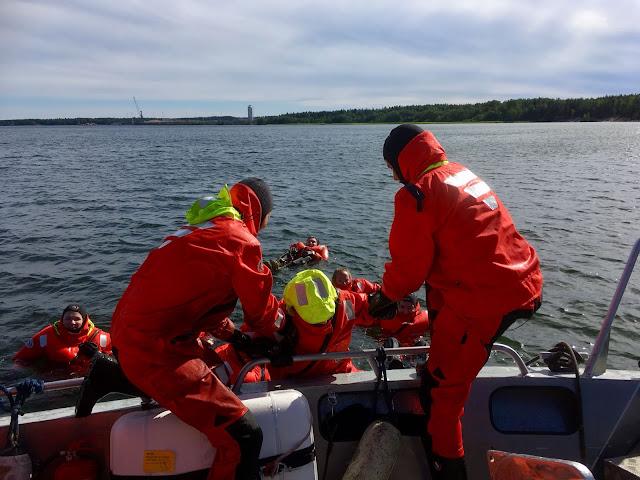 Kolme kartoittajaa kelluu vedessä pelastautumispuvuissa. Kaksi on veneessä ja nostavat yhtä ylös.