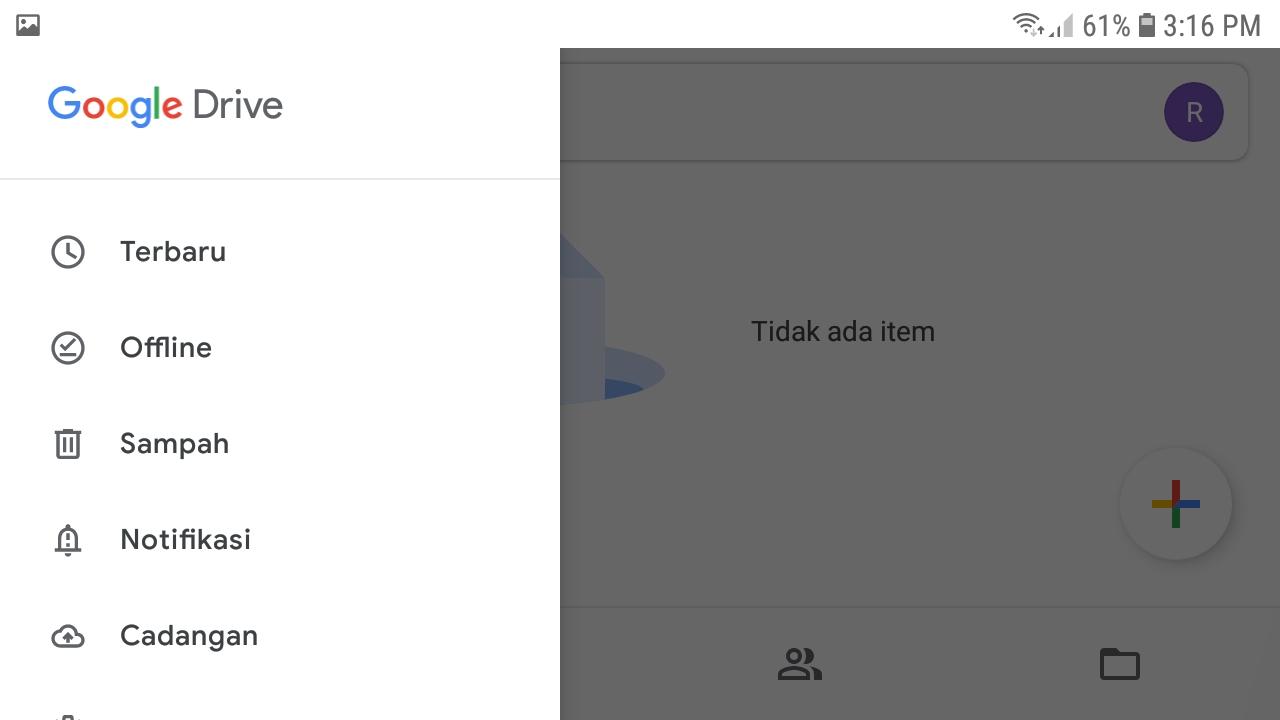 Menu atau Folder Sampah pada Aplikasi Google Drive