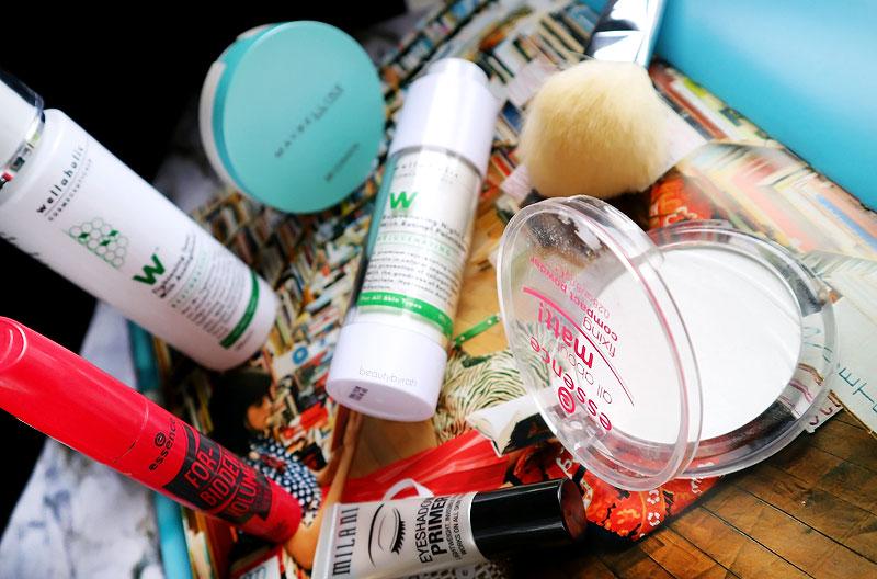Essence All About Matt! Powder, Milani Eyeshadow Primer, Essence Forbidden Volume Rebel Mascara and Wellaholic Cosmeceuticals.