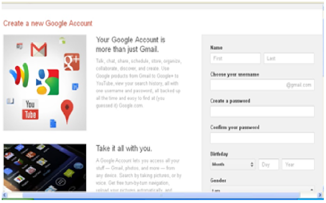 Creating a Google account is the first step in creating a blogspot blog
