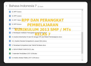 RPP K13 SMP/MTs dan Perangkat Pembelajaran Abad 21 Kelas 7