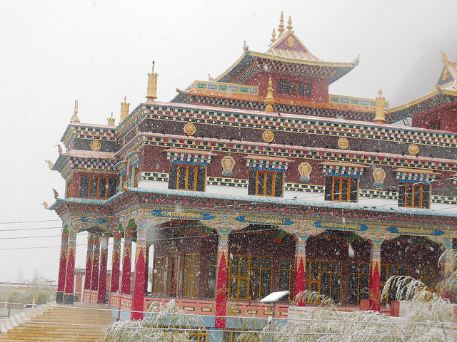Kaza monastery in snowfall