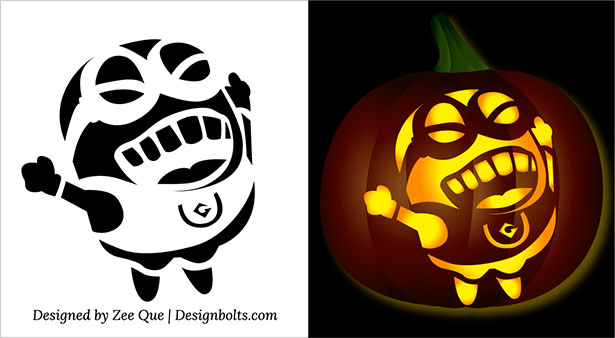 Minions Face Pumpkin Jack O Lantern Stencils Carving Pattern Template-